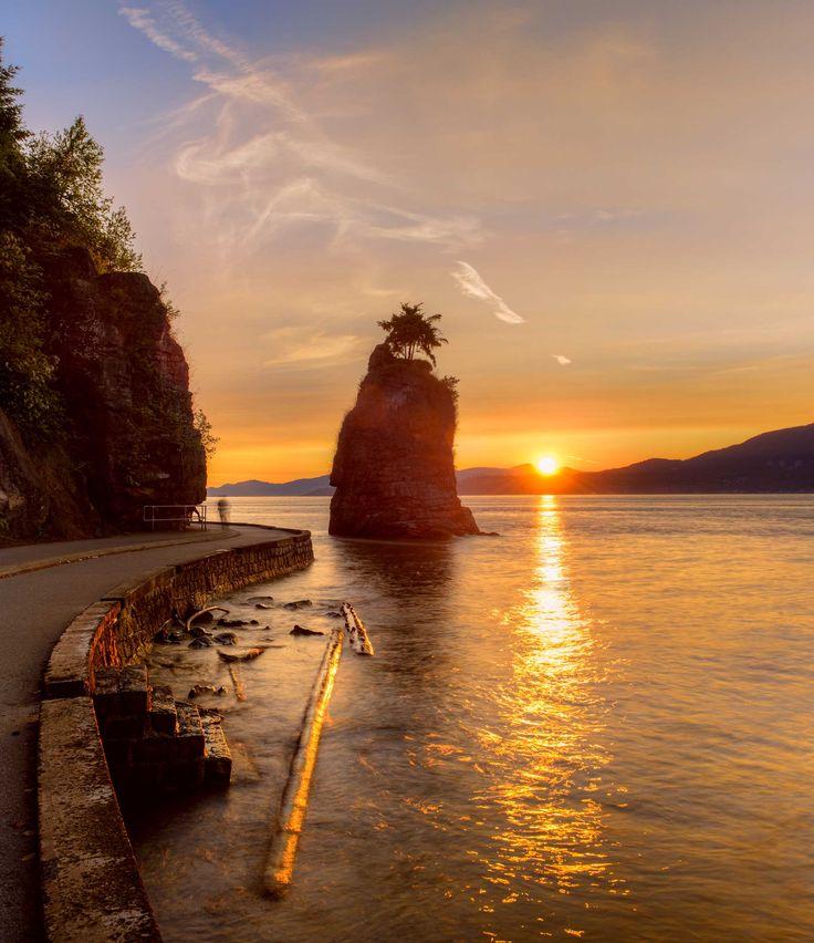 Siwash Rock at sunset, Vancouver BC, Canada