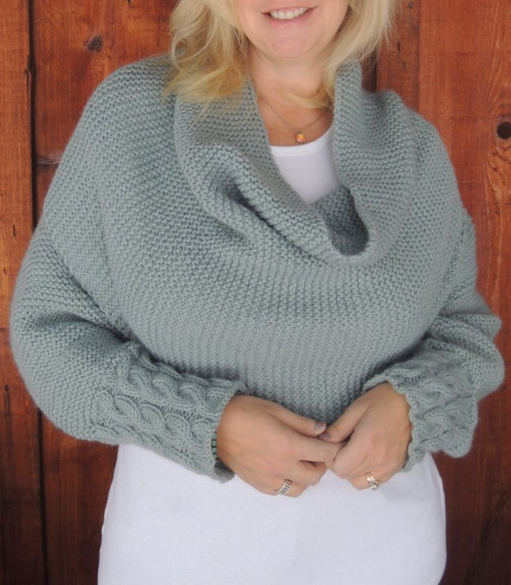 Knitting Pattern Shawl With Cuffs : Knitting Pattern for Cable Cuff Sleeve Wrap - This multi-purpose accessory ca...