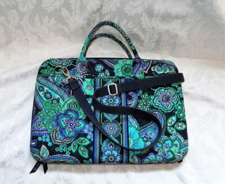 Details about VERA BRADLEY LAPTOP BAG, Blue Rhapsody Laptop Attache Navy Blue Floral Paisley