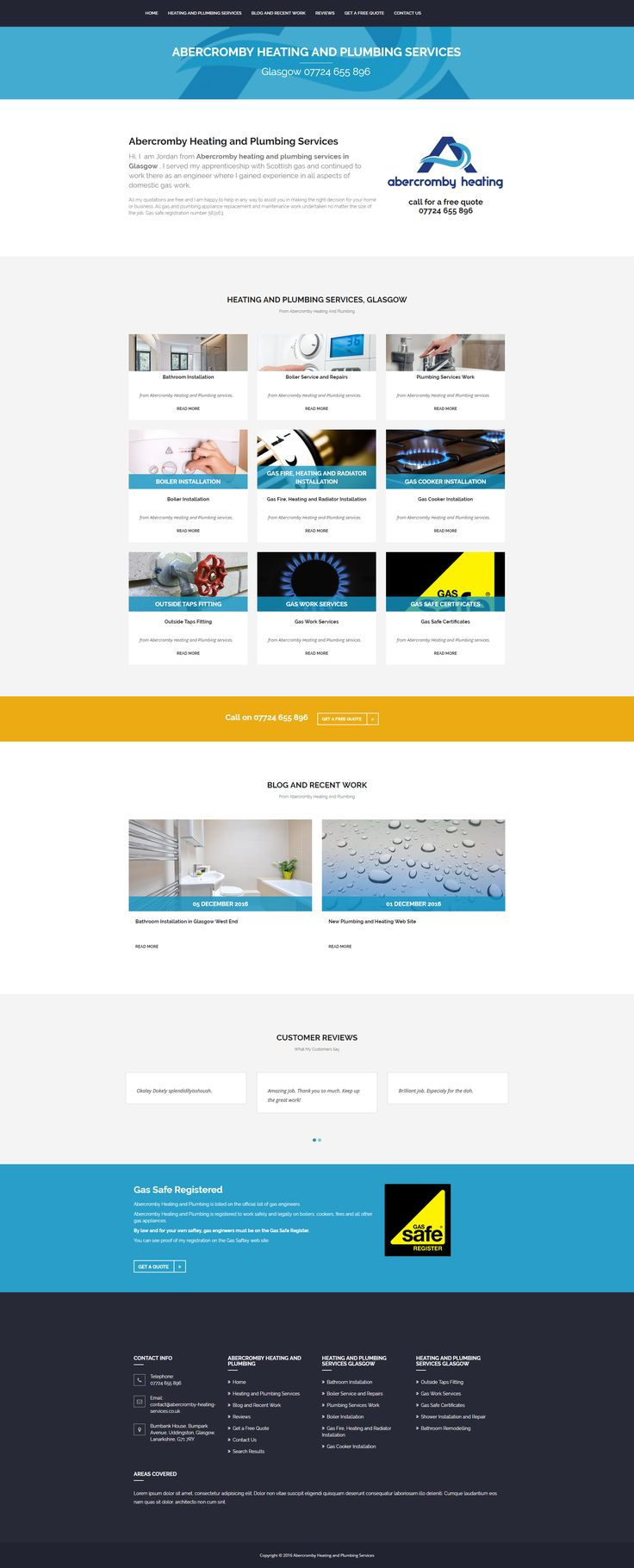 Plumber web site design.   Developed using Bootstrap and Umbraco CMS as part of my East Kilbride Website Design and Development services, Glasgow, in Scotland.
