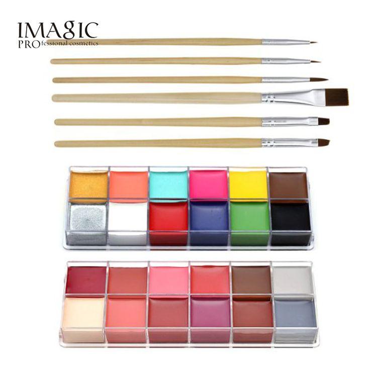IMAGIC Halloween Body Paint professional face oil 12 color body painting art party make up + 6pcs Paint Brush
