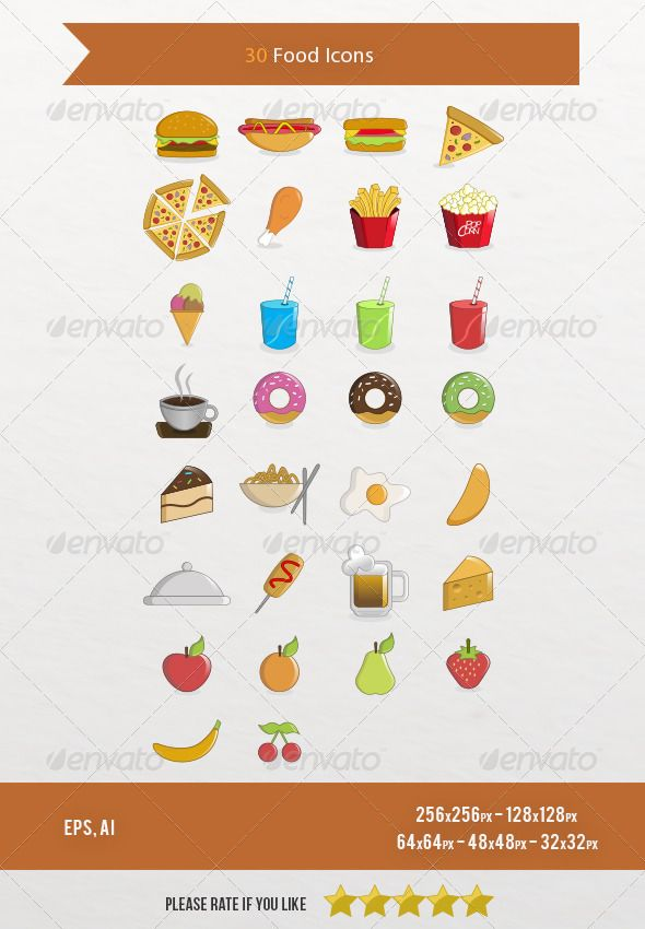 30 Food Icons  #GraphicRiver         Hi !  30 Food Icons Pack – vector icons.  This icons set includes 30 icons  This File Includes:  - EPS format (vector – Version CS or higher – Illus10 version or higher) - Ai (Illustrator CS version or higher) - 256×256px PNG file (transparent background RGB) - 128×128px PNG file  - 64×64px PNG file  - 48×48px PNG file  - 32×32px PNG file  - PNG files organized  Please rate if you like!  Check more icons HERE     Created: 6October13 GraphicsFilesIncluded…
