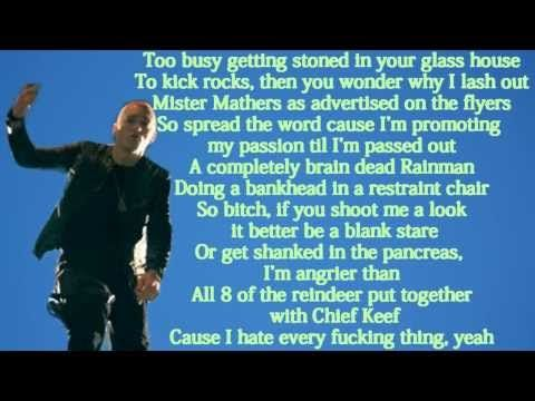 Not blaming all my problems on my dad, But Eminem is my therapy! I can relate & Opens up my mind to inspiration & faith.