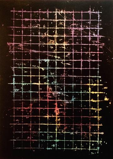 Anja Schwörer  Ohne Titel, 2005  Bleiche, Pigment auf Baumwolle  200 x 145 cm