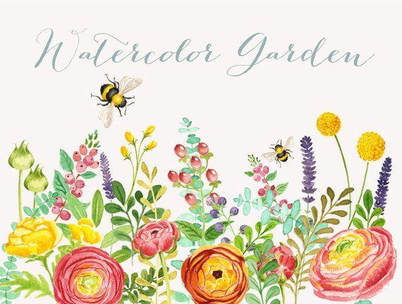 Watercolor Garden Clipart Instant Download Wedding Bridal