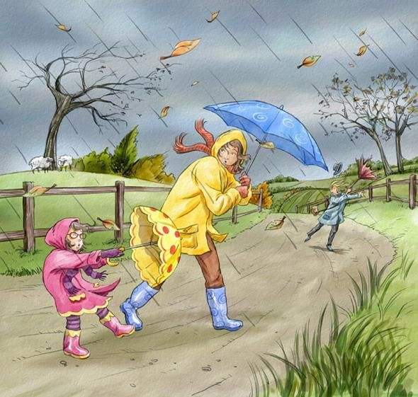 What is the weather like? Tell a story about this picture? Is it windy? How can you tell?  Who is wearing blue boots? Who has a yellow umbrella? Where do you think they are going?