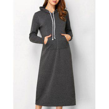 Hooded Long Sleeve Straight Dress - M DEEP GRAY