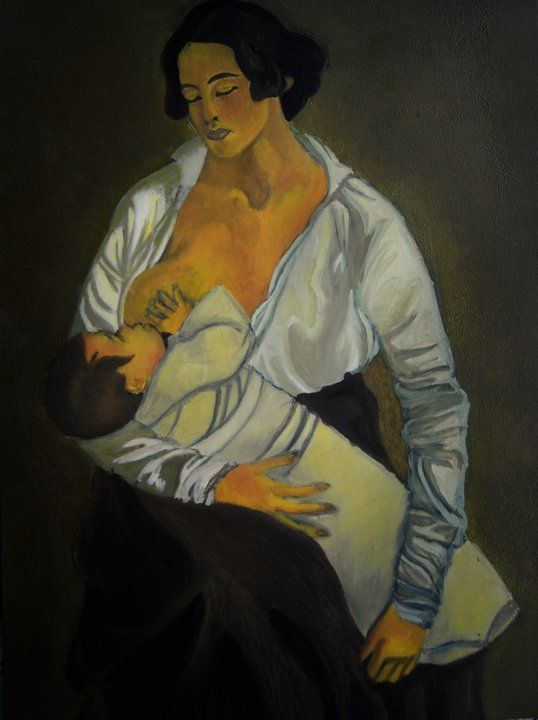 """Copia del """"La maternità"""" di Gino Severini su compensato (35x50 cm)"""