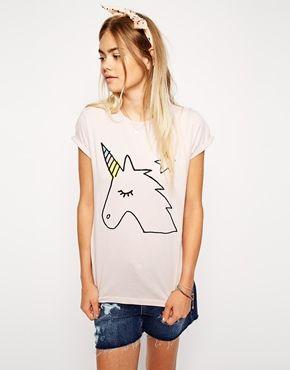 ASOS - T-shirt style boyfriend avec joli imprimé licorne