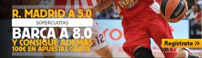betfair Real Madrid cuota 5 Barcelona cuota 8 Euroleague mas 100 euros 5 febrero