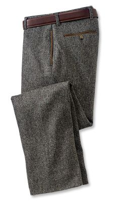 Charcoal tweed pants with brown pocket lining