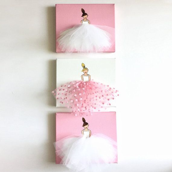 Original acrylic paintings, hand-painted on stretched canvas. Unique artwork, composed of acrylic paint and tulle, ideal for a little girls room, nursery, baby shower, birthday gift, etc.  ******************************************** This listing includes a set of 3 canvases. 2 ballerinas in white tutu on colored background, and 1 ballerina in polkadot tutu on white background.  The set is available in pink and purple.  Please note that the frames and accessories are NOT included and are for…
