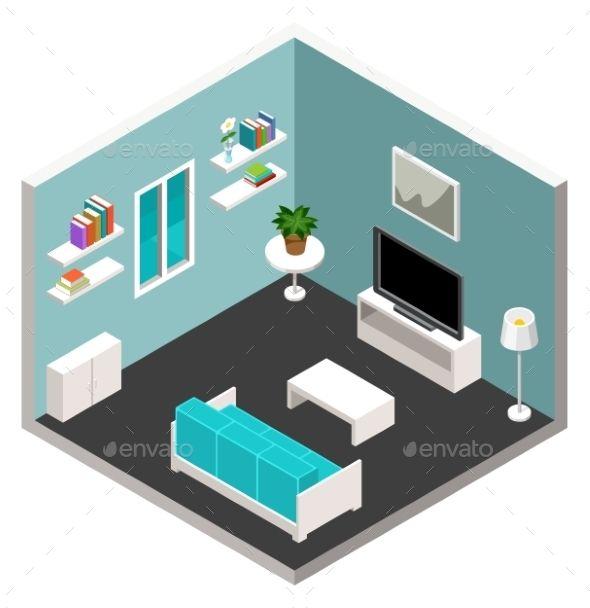 Isometric Furniture Vector EPS
