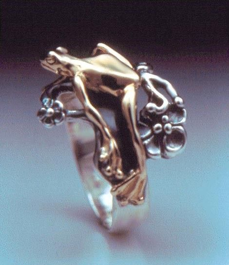 Love it!    Tree Frog Bimetal Ring by SheppardHillDesigns on Etsy, $75.00