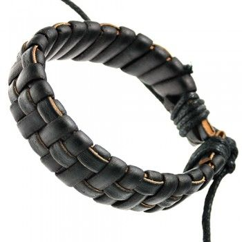 Dark Brown Braided Leather Bracelet