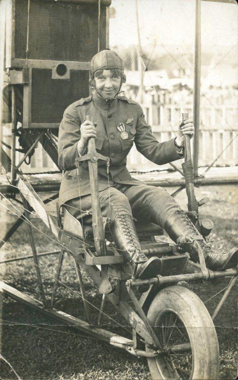 Ruth Law.  Bought her first airplane from Orville Wright in 1912 at age 21.  First woman to do a loop-de-loop.  First woman authorized to wear a uniform by the U.S. Military.