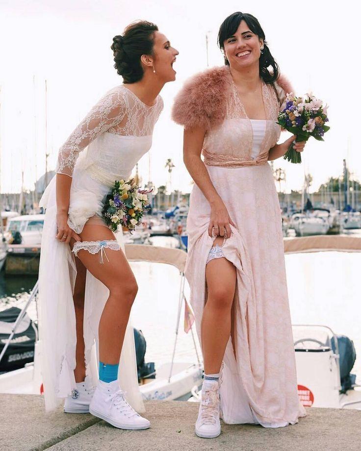 Oohhh we love them!!!! Ana & Patri on their wedding day ❤️💜💚💛💜❤️ thank you very much and we wish you the best girls!! - Rustic wedding dresses MIMETIK BCN  @mimetikbcn / Boho event gowns  Vestidos románticos para bodas bohemias (moda convertible)    #weddingdresses #vestidosnovia  #dosnovias #gracebarcelona #mimetikbcn #Barcelona #barcelonagracia #vestidonoviabohemio #bohoinspo #love #barcelonaatelier #noviasbohemias #bodasbarcelona #bohowedding #twobridesarebetterthanone