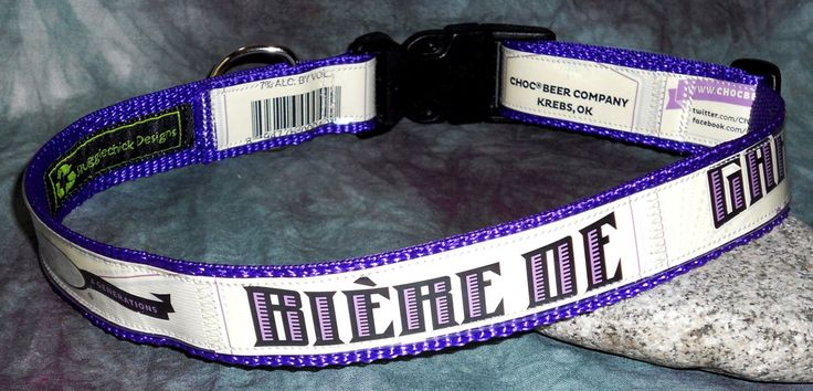 Adjustable Dog Collar from Recycled Choc Beer Biere De Garde Beer Labels by squigglechick on Etsy