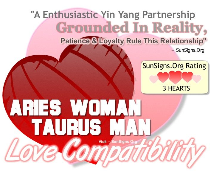 The Yin and Yang love compatibility between an Aries woman and a Taurus man makes them a natural couple.