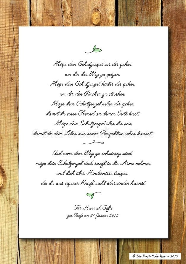 Druck/Print: Poetischer Segenswunsch - Schutzengel - ein Designerstück von DiePersoenlicheNote bei DaWanda