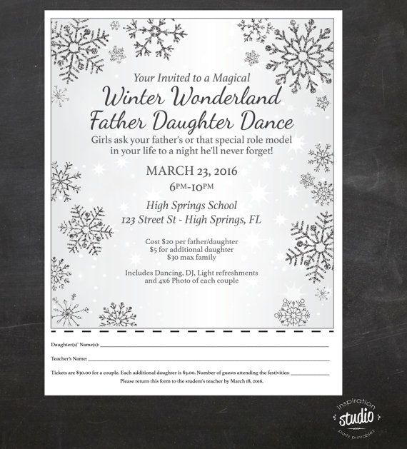 Winter Wonderland - Father - Daughter Dance - Event Custom Printable Package - flyer and tickets If you are planning a Daddy-Daughter dance for your school, church or another organization we can make it super easy for you.