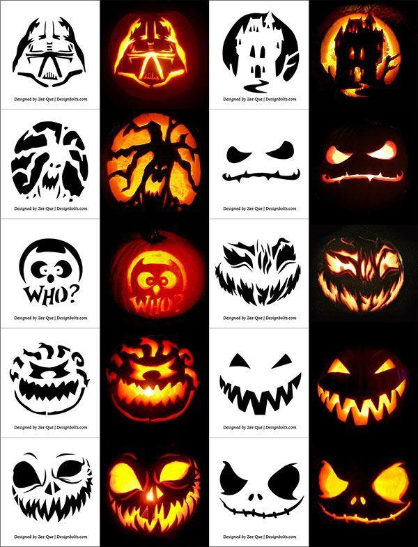 290 Free Printable Halloween Pumpkin Carving Stencils Patterns Designs Faces Ideas Hellouin Tykvy Hellouin Tykvy