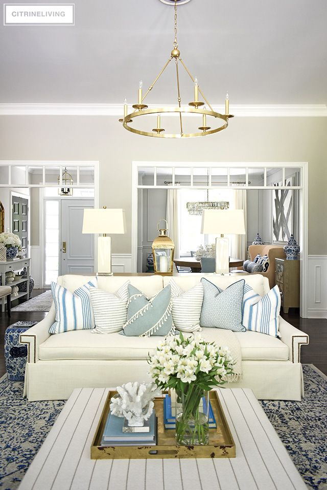 Summer Living Room Tour With Blue White Summer Living Room Summer Living Room Decor Blue Living Room