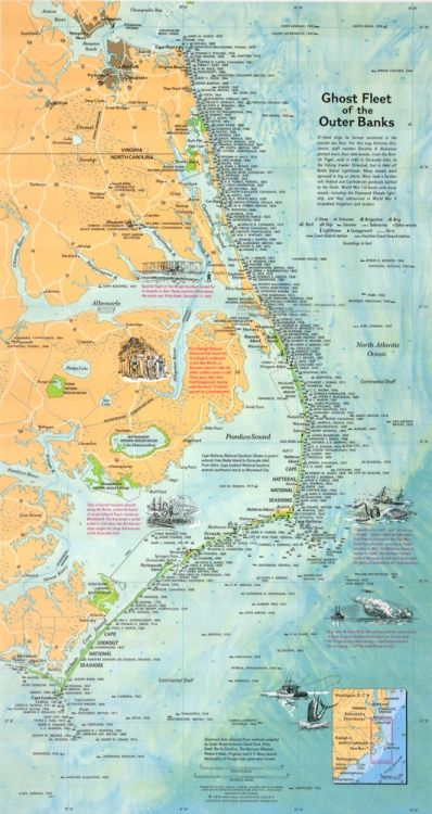 'Ghost Fleet of the Outer Banks.' Map of Shipwrecks off the North Carolina Coast. Originally printed for the National Geographic Magazine in 1970, this map plots over 500 ill-fated ships that lie forever on the atlantic coastal sea floor—from the British Tiger, sunk in 1585 in Ocracoke Inlet, to the fishing trawler Oriental, lost in 1969 off Bodie Island Lighthouse.