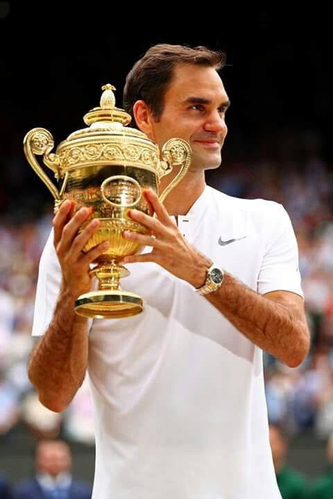 Roger Federer, winner of Wimbledon 2017. The most successful male tennis player of all times