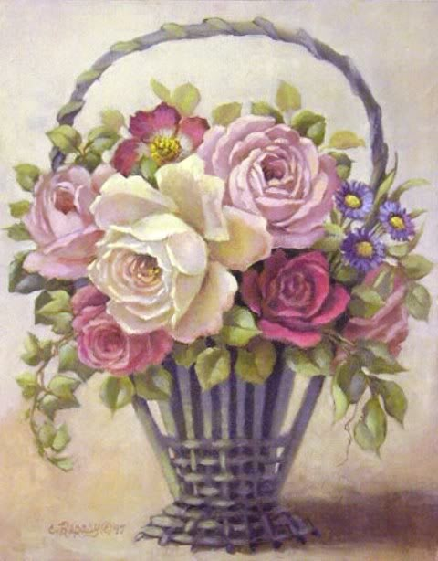 Vintage basket of roses