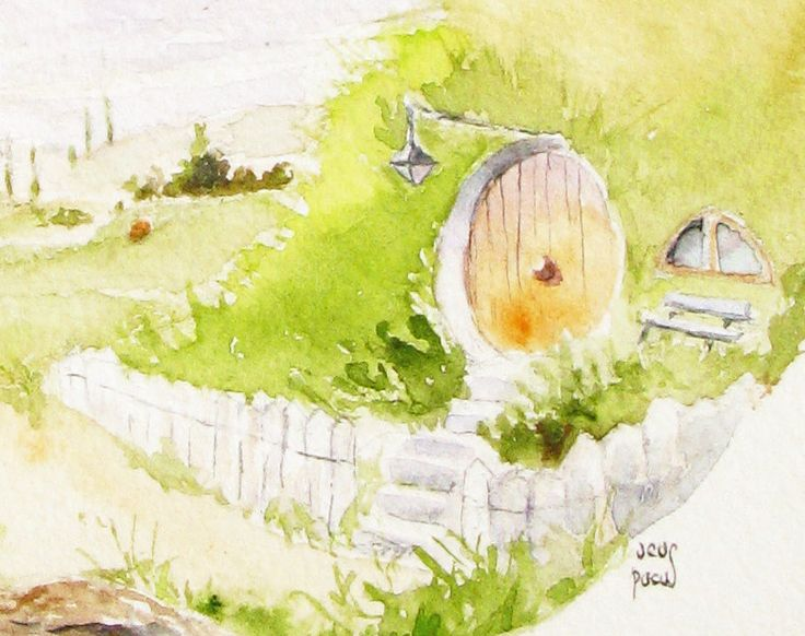 Hobbiton Bag End watercolor green landscape art print.