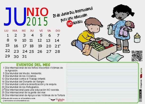 Calendario mes de Junio - Actividades Lúdicas Educativas