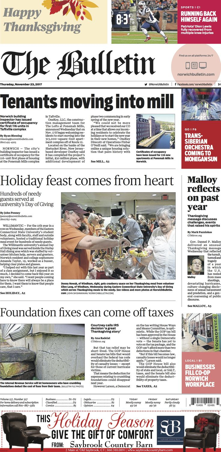 Thursday, November 23, 2017 - Subscribe to The Bulletin today: http://www.norwichbulletin.com #ctnews #newlondoncounty #windhamcounty