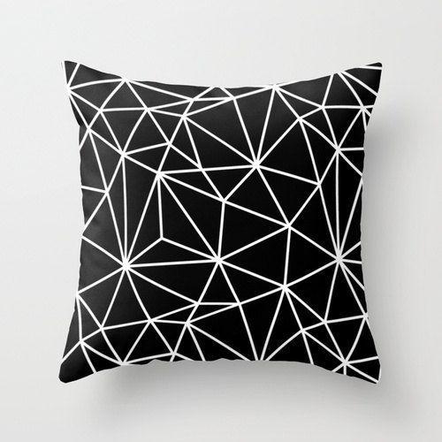 Geometric Throw Pillow Cover Black Polygon door TheMotivatedType