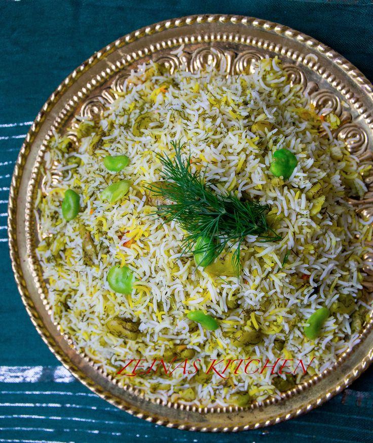 Fluffigt, aromatiskt persiskt ris med smak av dill och bönor. Ett gott tillbehör till de flesta rätter. Passar lika bra att servera riset vid en gryta, till grillat eller som en hel rätt med sallad och yoghurt. 6 portioner 6 dl basmatiris av god kvalité-läs mer HÄR! 1 knippe färsk dill (ca 2 dl hackad) Ca 350 g skalade bondbönor (finns i frysdisken i de flesta mataffärer som säljer produkter från Mellanöstern) 2 st potatisar 0,5 g saffran 1 tsk gurkmeja 50 g smör 4 msk olja 3/4 dl vatten...
