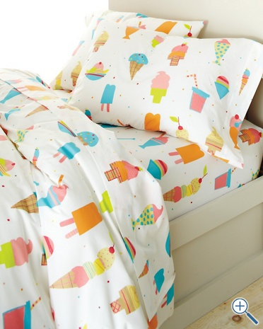 Garnet Hill's Ice Cream Percale Bedding.....very similar to their ice cream bedding from 2 summers ago that is on AC and C's bed now...put it with a llime green with white polka dot bedskirt from Company Kids. Love This!!