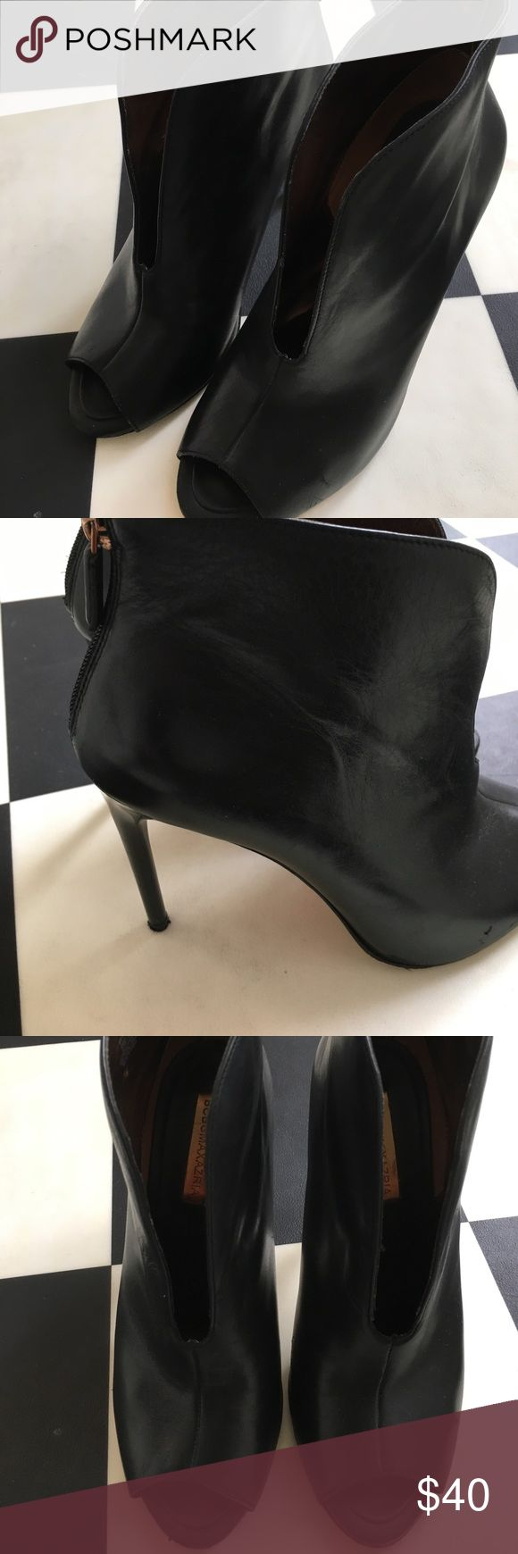 BCBG Max Azria peep toe stiletto booties Sexy stiletto peep toe booties with back zip are on trend and understated glam. In excellent used condition. BCBGMaxAzria Shoes Ankle Boots & Booties
