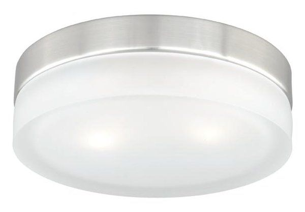 Minimalist and elegant, the Vaxcel Loft Flush Mount is an excellent addition to your home. Designed for illumination, it requires two halogens bulbs to irradiate the room with warm lighting. The flush mount is burnished with a lustrous satin nickel finish and includes a white, cylinder-shaped glass shade. It will complement homes with contemporary interiors. The flush mount is available in multiple sizes. Built using premium quality steel, its sturdy construction ensures years of…
