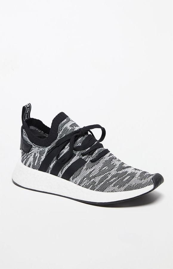 official photos 67934 08b29 adidas NMD R2 Primeknit Shadow Knit Black   White Shoes
