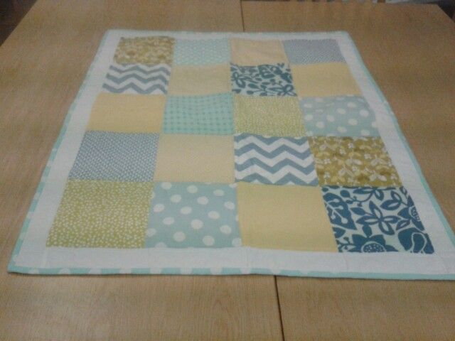 Yellow and blue baby boy quilt