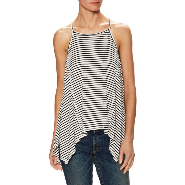 Firth Women's Stripe Trapeze Tank - Size l ($49) ❤ liked on Polyvore featuring tops, multi, racerback tank top, racer back tank tops, graphic tanks, spaghetti strap tank and spaghetti strap racerback tank tops