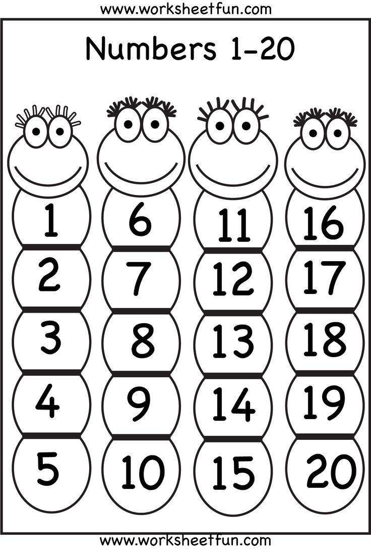 Preschool Worksheets Numbers 1 20 : Numbers printable worksheets pinterest charts