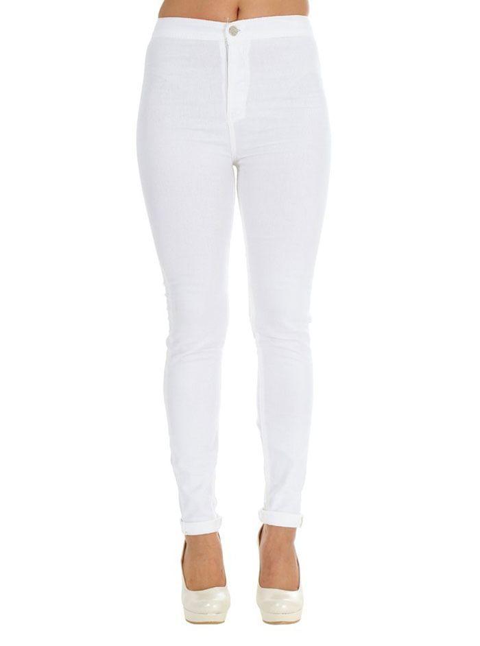 Yüksek Bel Arkası Cepli Bayan Renkli Pantolon Beyaz MC07280914121