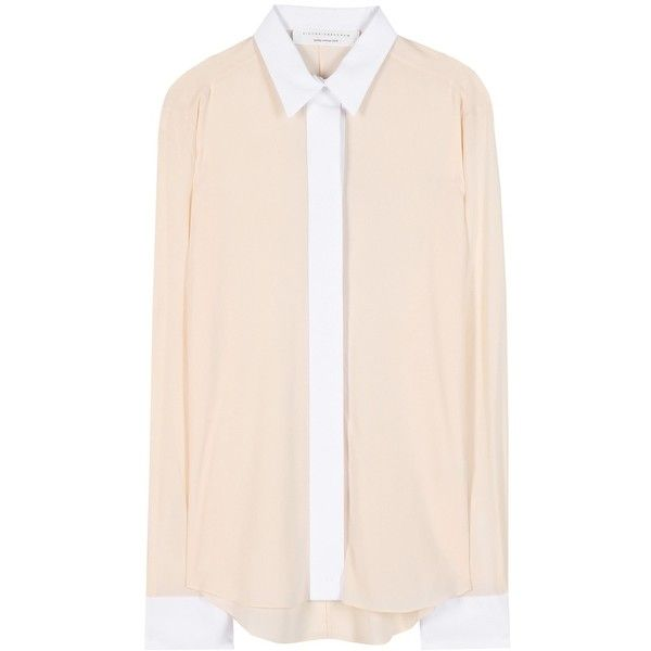 Victoria Beckham mytheresa.com Exclusive Crepe Shirt ($415) ❤ liked on Polyvore featuring tops, blouses, shirts, shirts / blouses, neutrals, nude shirt, pink top, victoria beckham, pink blouse and pink shirts