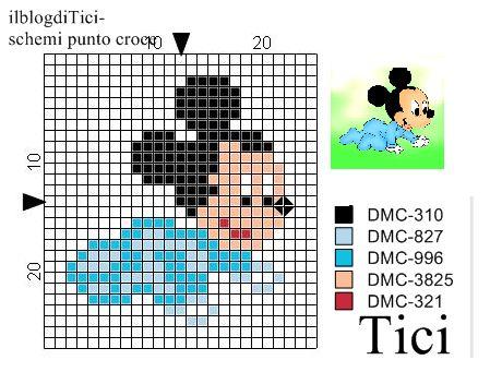Schema punto croce piccolo Baby Topolino