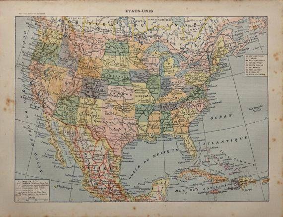 1904.ESTADOS UNIDOS.Mapa de Estados Unidos  Lámina a color.