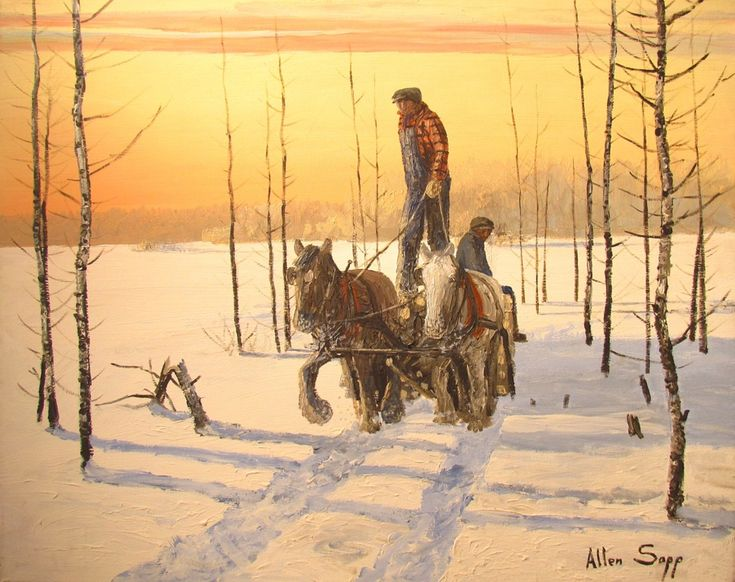 Going Home with a Load by Native Canadian painter Allen Sapp (born 1928)