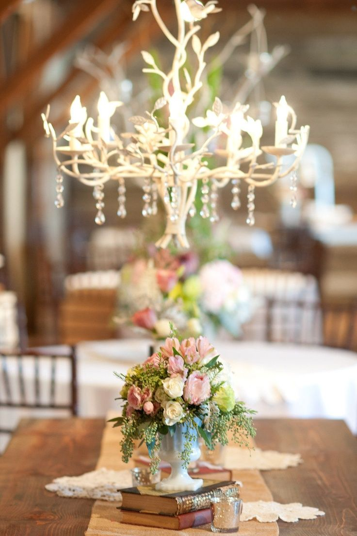 Romantic and rustic pink wedding reception.