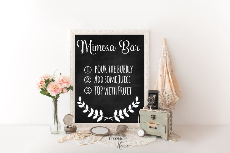 Chalkboard Mimosa Bar Sign, Printable Mimosa Bar Sign, Wedding Signs, Reception Sign, Chalkboard sign, Mimosa Bar Instructions, 8x10, MB01 by OccasionHouse on Etsy
