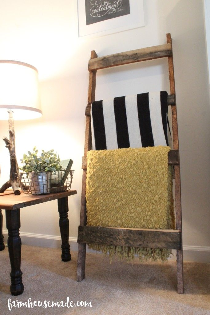 Pallet blanket ladder perfect for your living room corner between two couches or on a wall near a fireplace.
